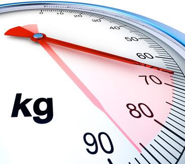 Die Waage zeigt den Bereich von leichtem bis starkem Übergewicht. Übergewicht ist abhängig von Körpergröße und Lebensalter, siehe auch BMI.